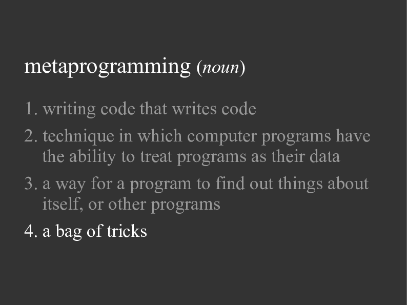 Defining Metaprogramming